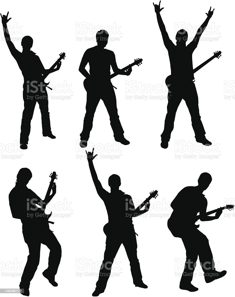Set of Guitarist Silhouette royalty-free stock vector art