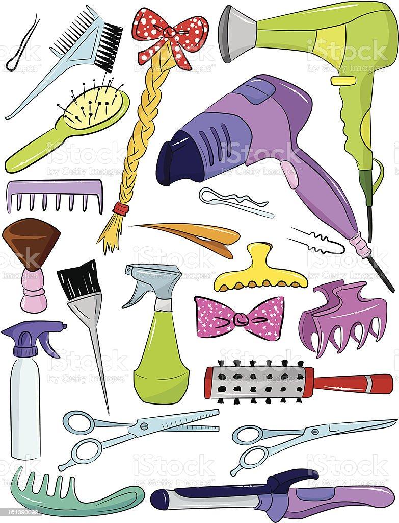 set of hairdresser accessories vector art illustration
