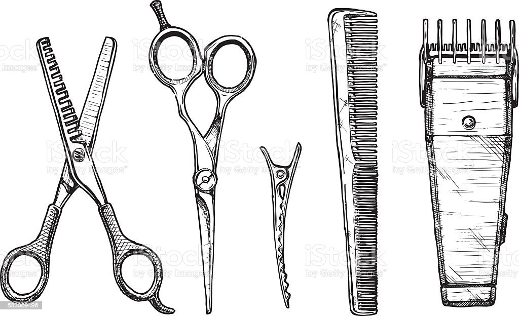 Set of hairdressers tools vector art illustration