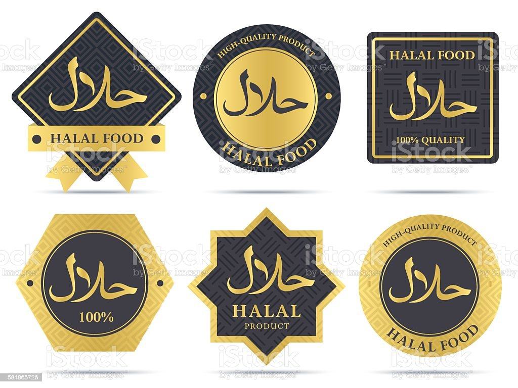 Set of halal food products labels and badges design. vector art illustration