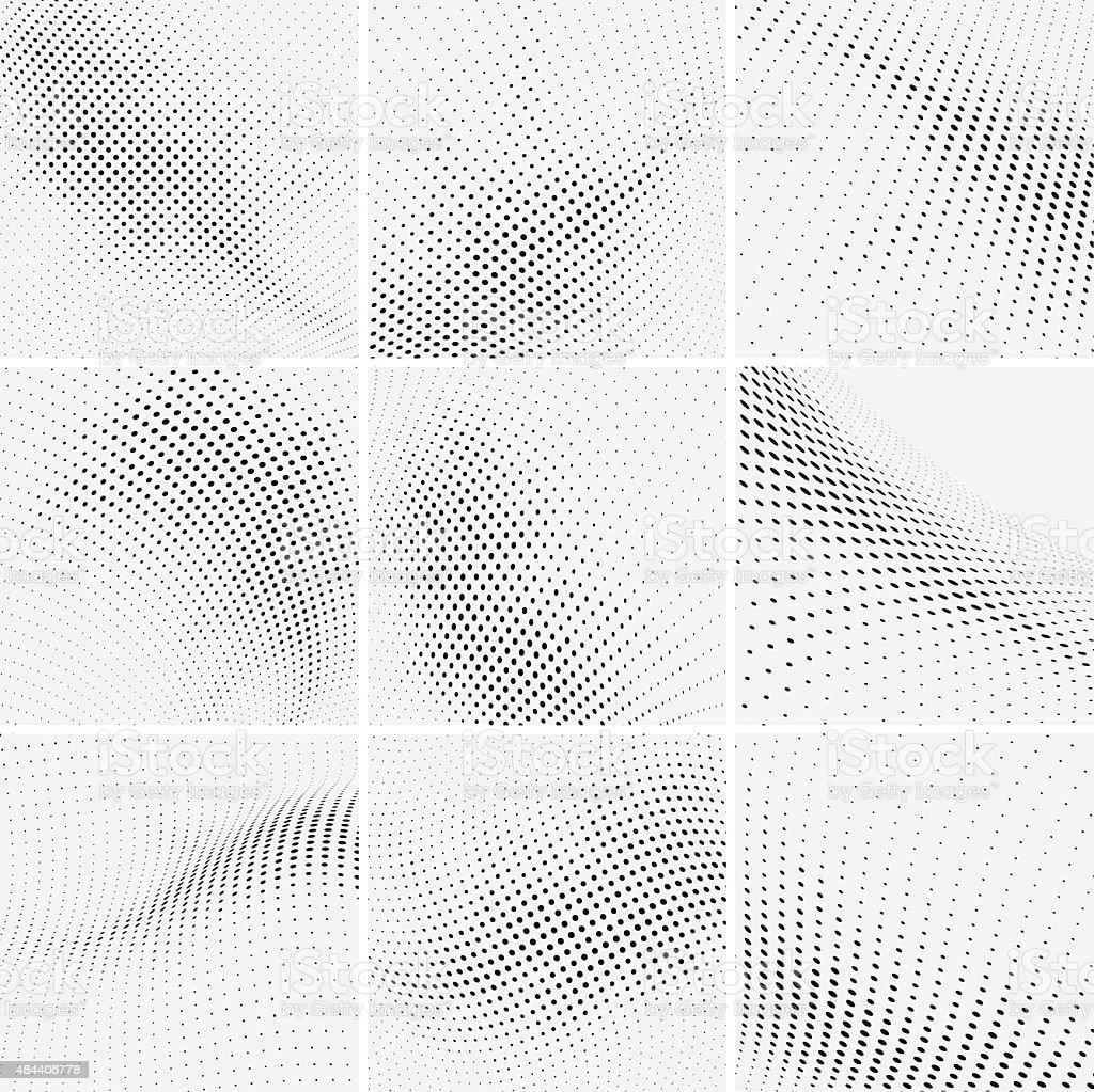 set of halftone background vector art illustration