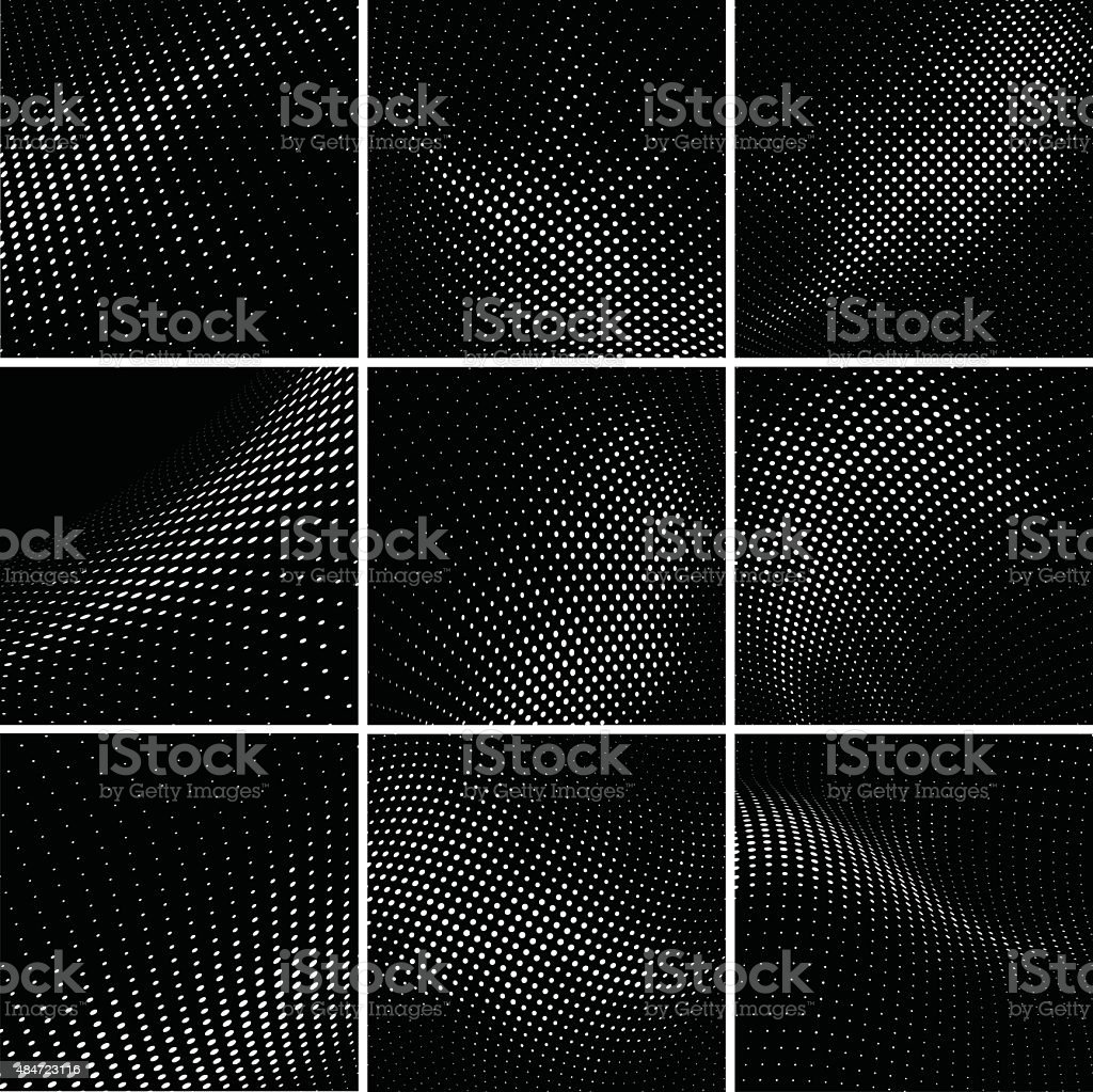 set of halftone background vector art illustration