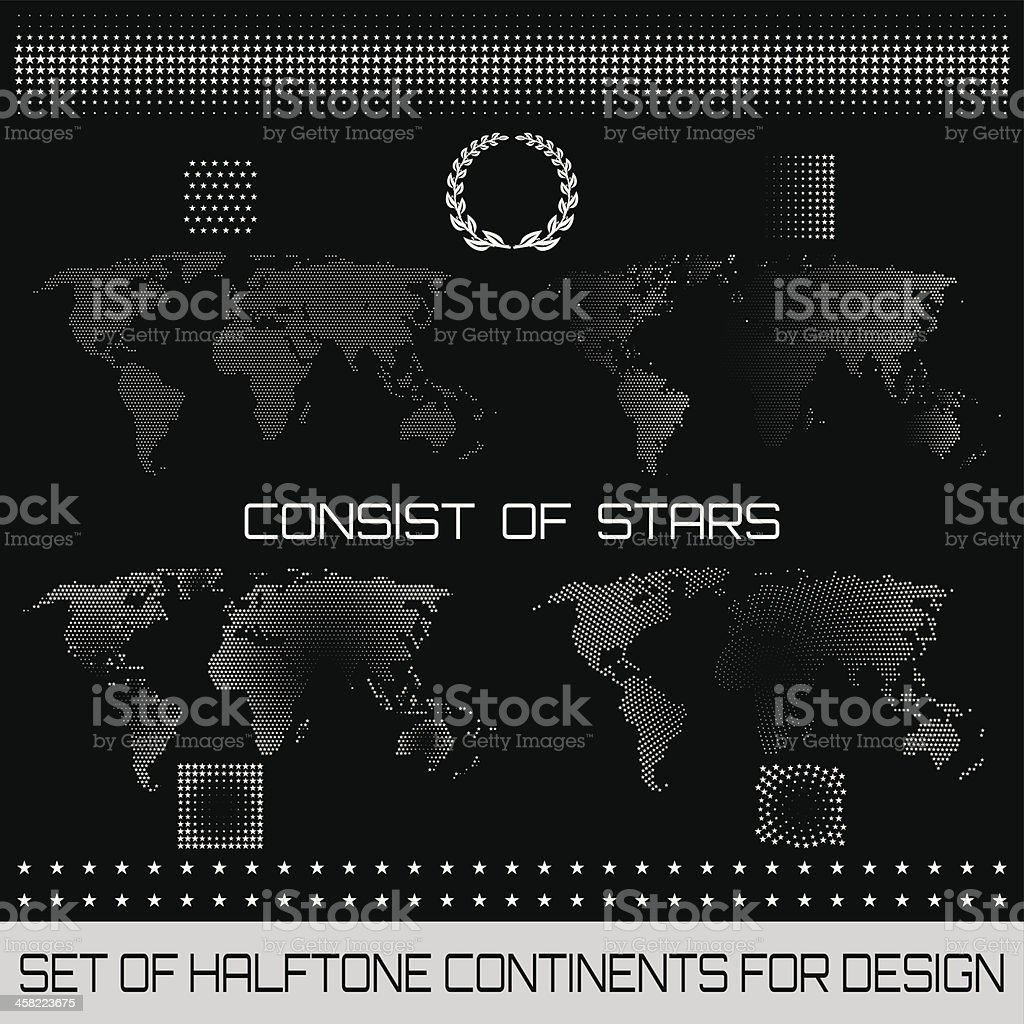 Set of halftone continents for design royalty-free stock vector art