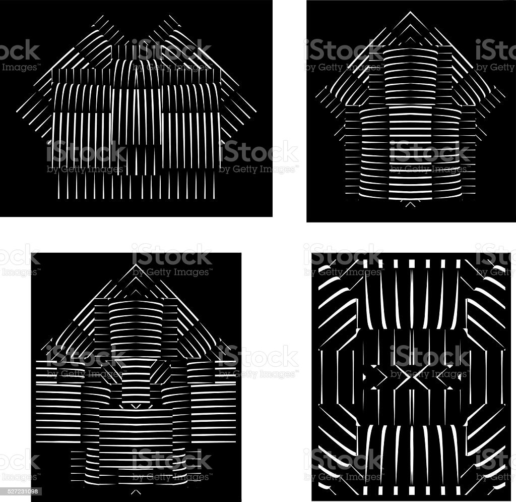 Set of Halftone Pattern Geometric Shapes, Isolated on Black vector art illustration