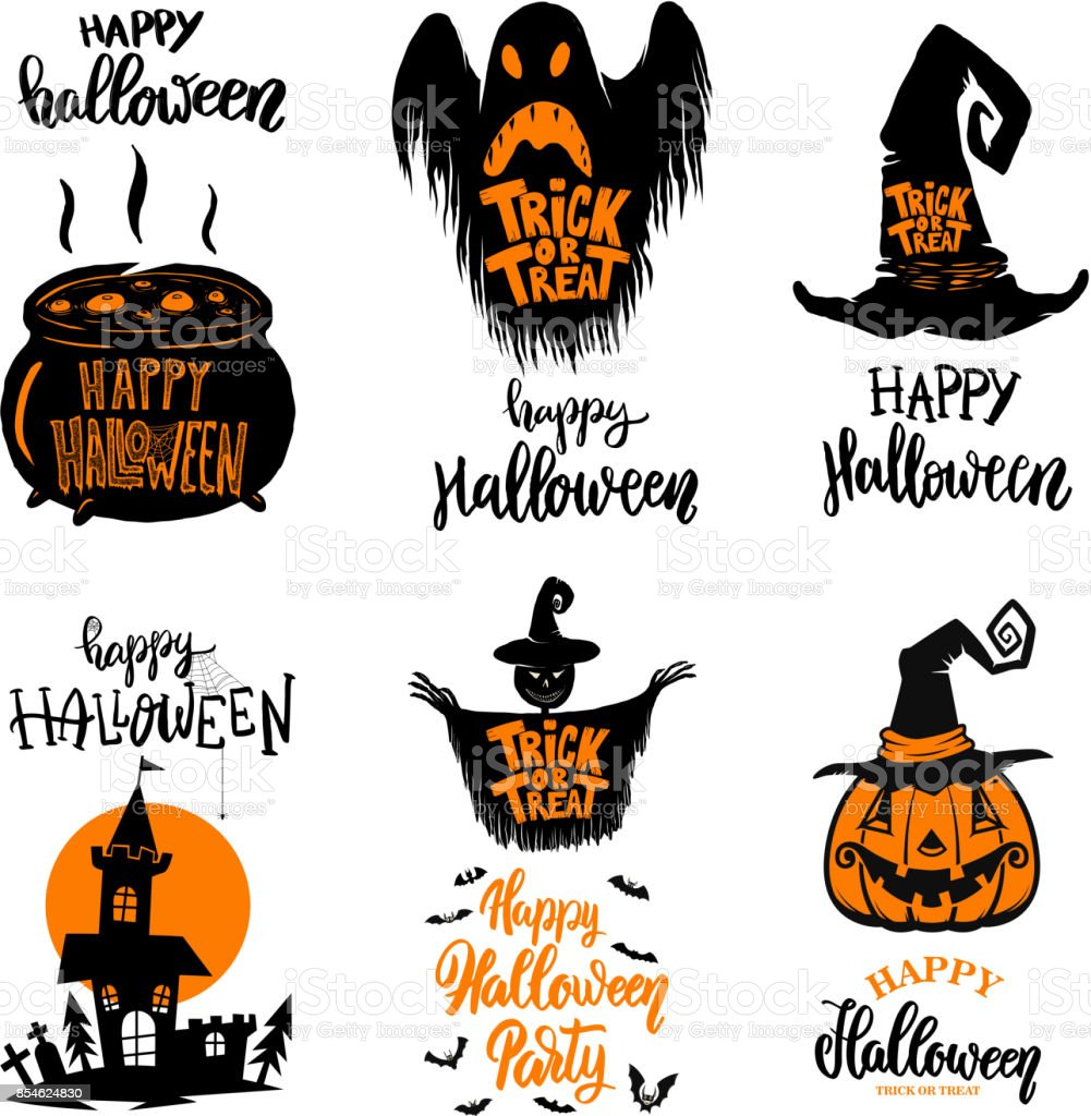 Set Of Halloween Banners Trick Or Treat Halloween Monsters stock ...