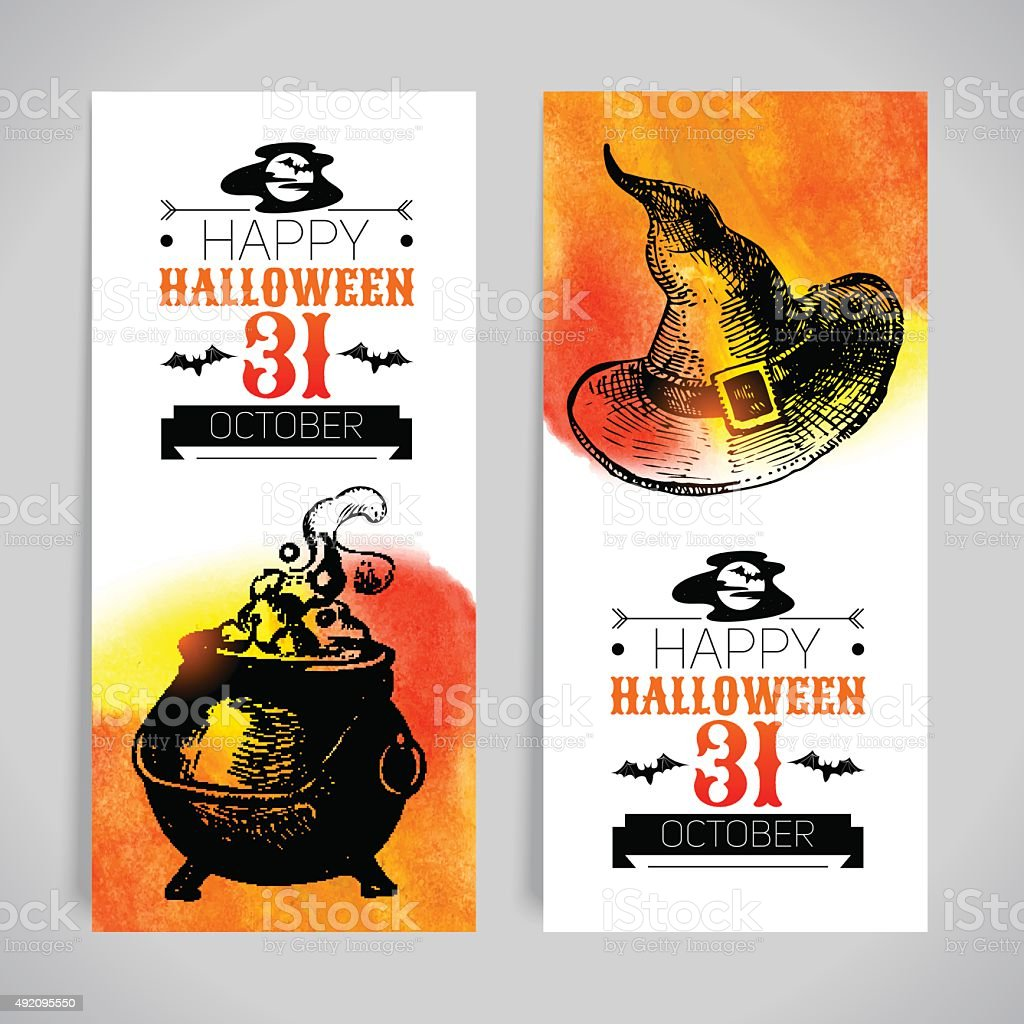 Set of Halloween banners. Typographic poster. Hand drawn sketch vector art illustration
