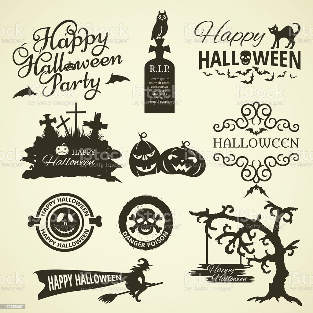 Set Of Halloween Design Elements royalty-free stock vector art