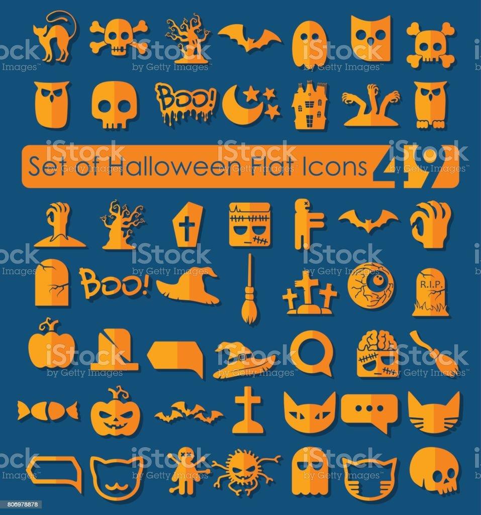 Set of halloween icons vector art illustration