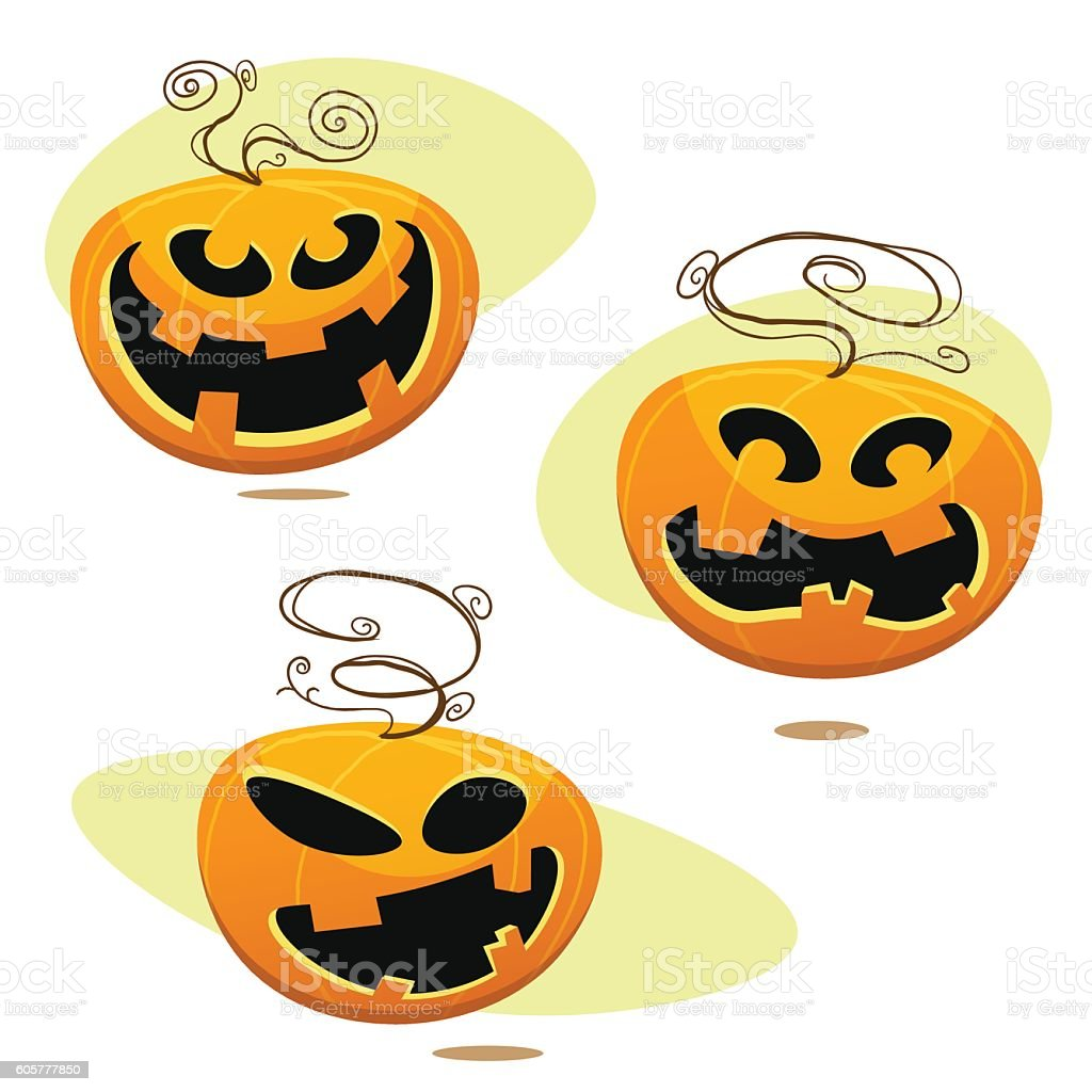 Set of Halloween Jack O Lantern pumpkins vector art illustration