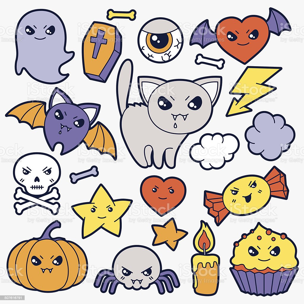 Set of halloween kawaii cute doodles and objects. vector art illustration