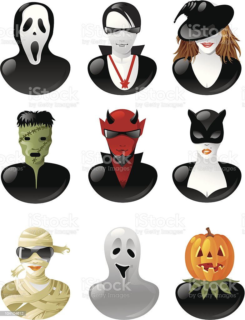 set of  halloween personages royalty-free stock vector art