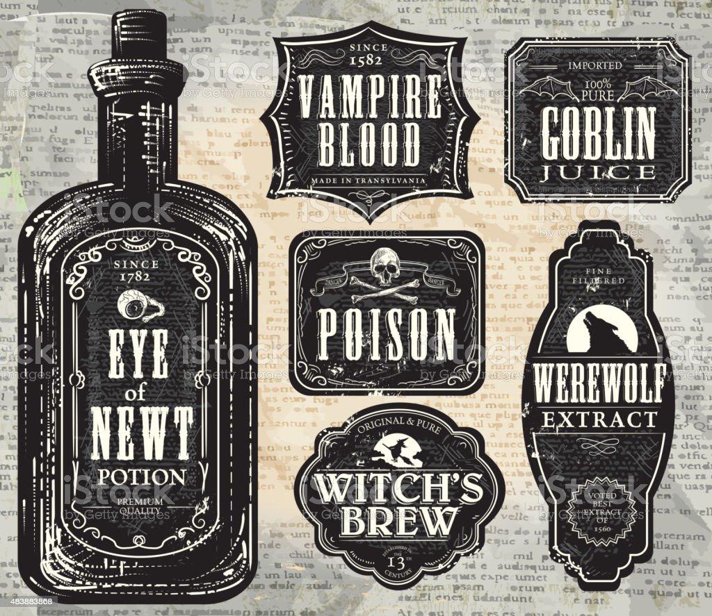 Set of  Hallowe'en printable black and white labels with bottle vector art illustration