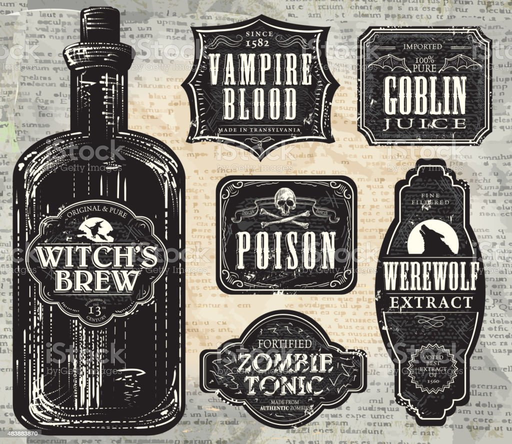 Set of  Hallowe'en printable black and white labels with bottle vector art illustration