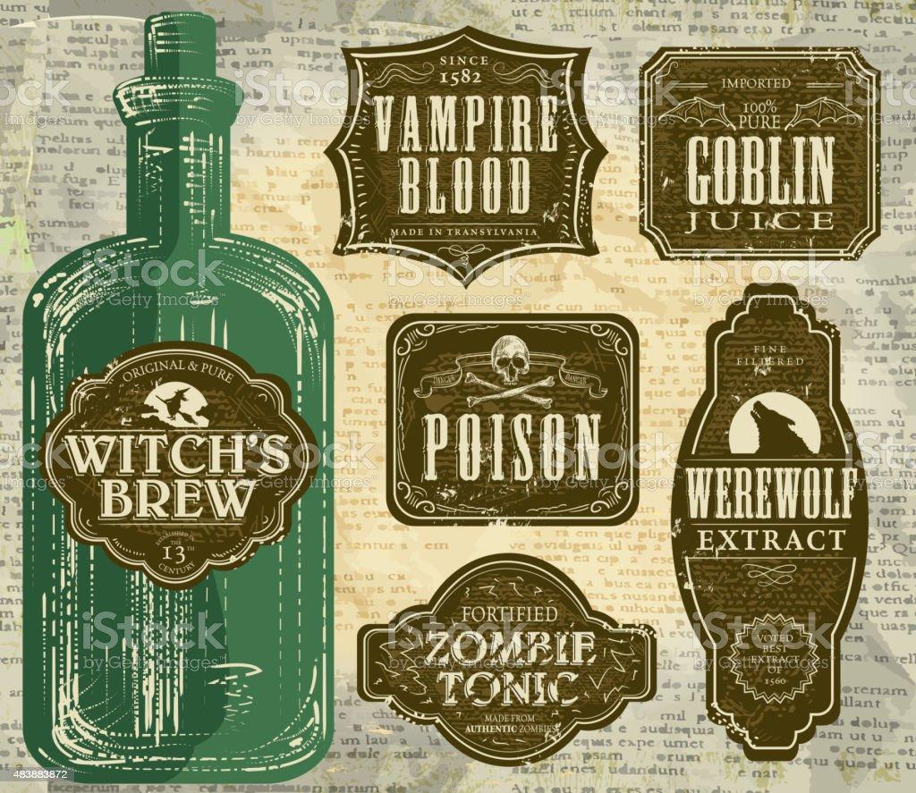 Set of  Hallowe'en printable green and brown labels with bottle vector art illustration