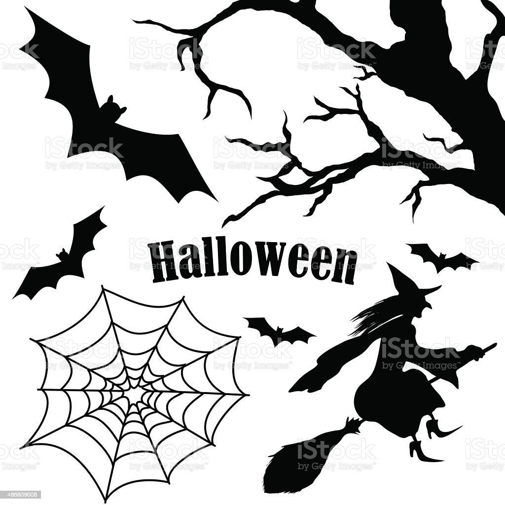 Set of halloween silhouette on white background vector art illustration