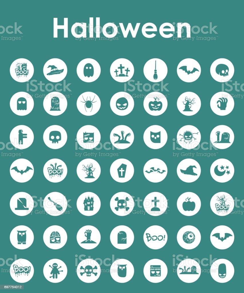 Set of halloween simple icons vector art illustration