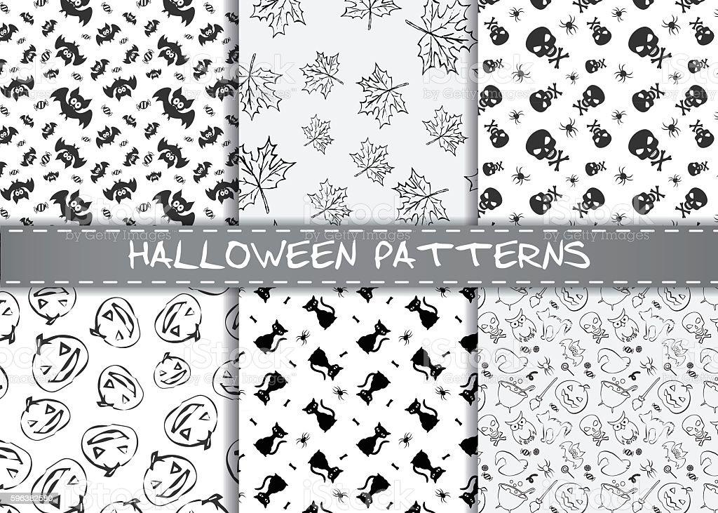 Set of halloween vector patterns. vector art illustration