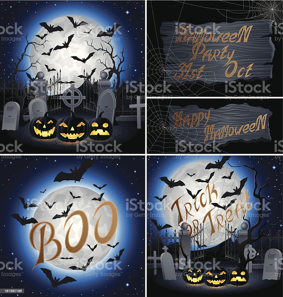 Set of Hallowen Backgrounds royalty-free stock vector art