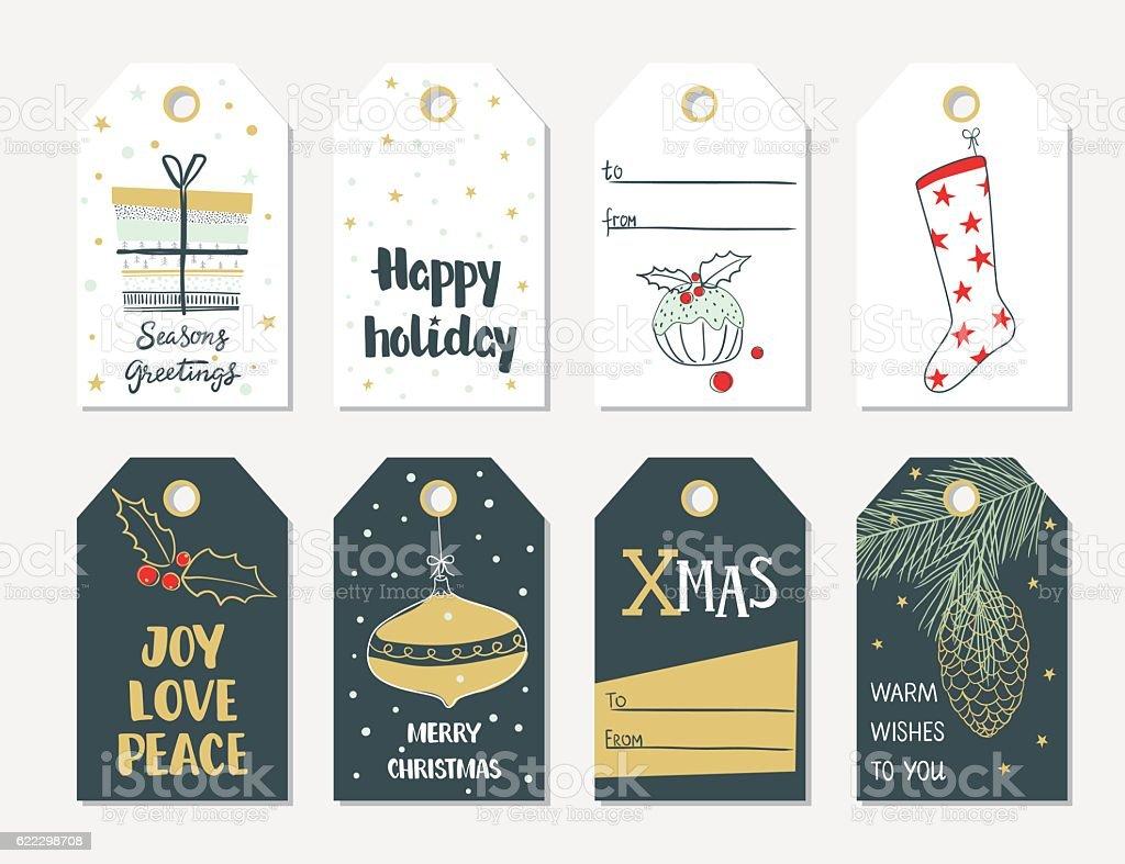 Set of hand draw Christmas gift tags vector art illustration