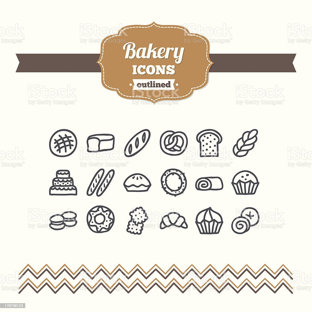 Set of hand drawn bakery icons vector art illustration