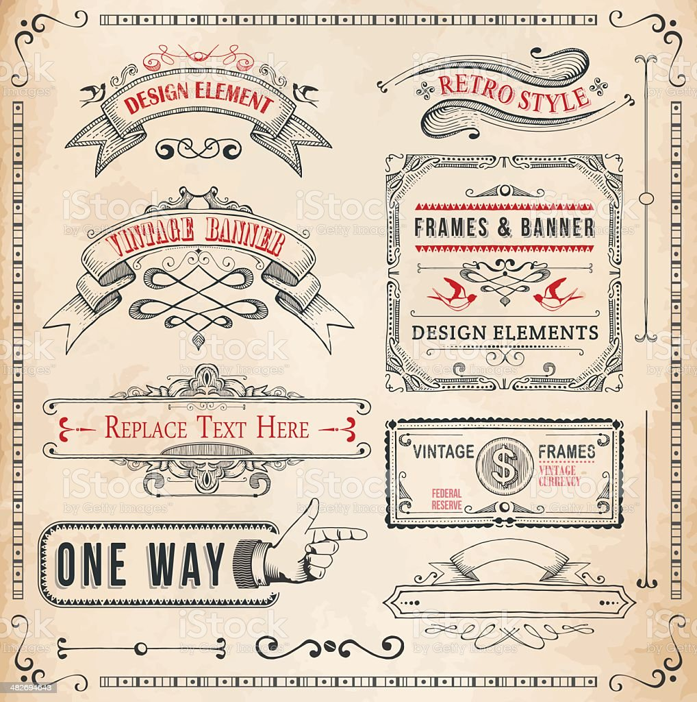 Set of Hand Drawn Banners and Frames vector art illustration
