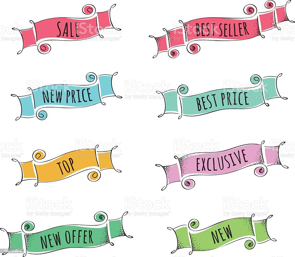 Set of hand drawn banners for promotion vector art illustration