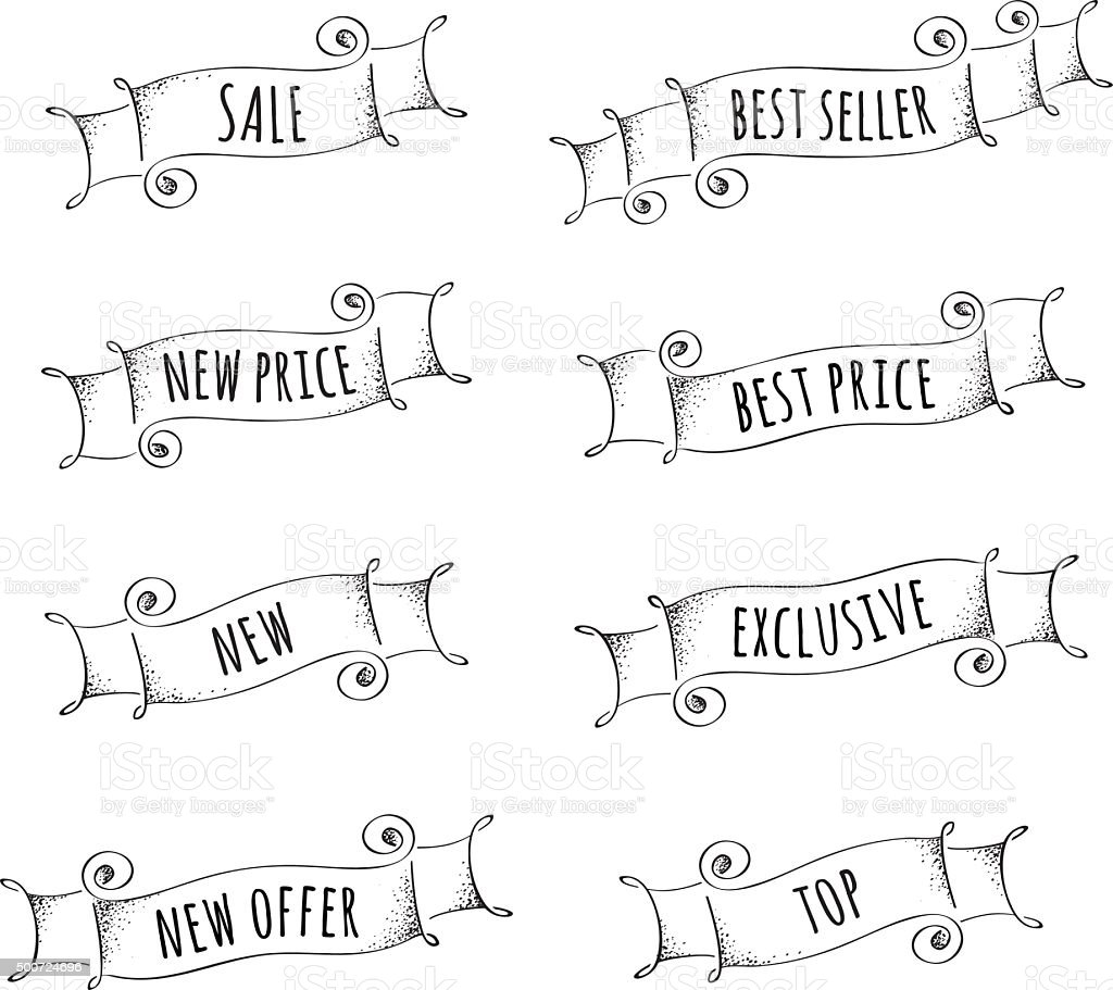 Set of hand drawn  black and white banners for promotion vector art illustration