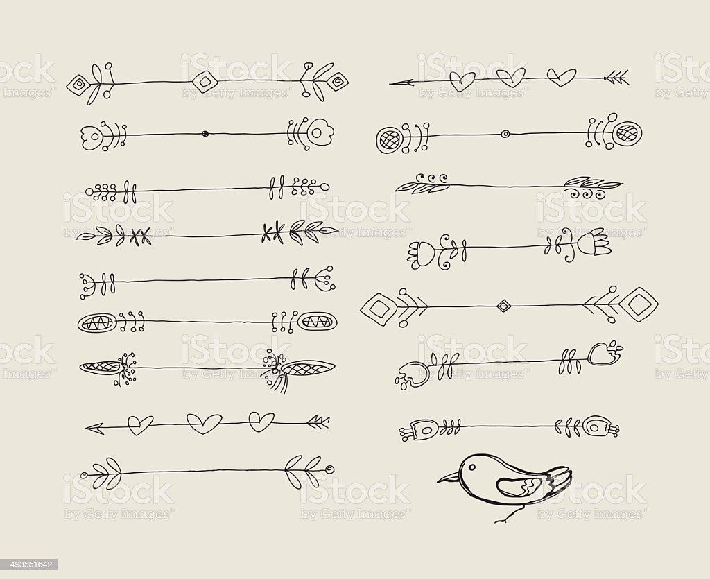 Set of Hand Drawn Black Doodle Design Elements.  Vector Illustration. vector art illustration