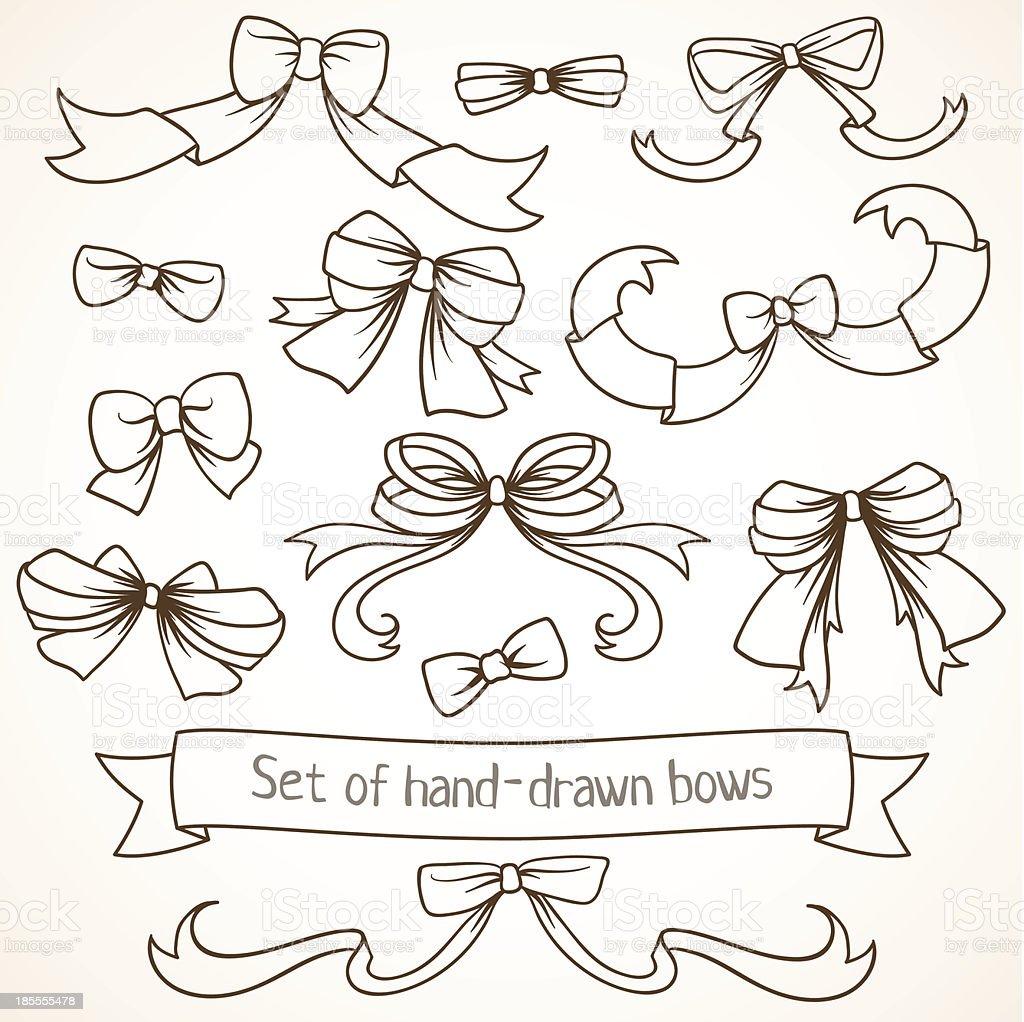 Set of hand drawn bows. royalty-free stock vector art
