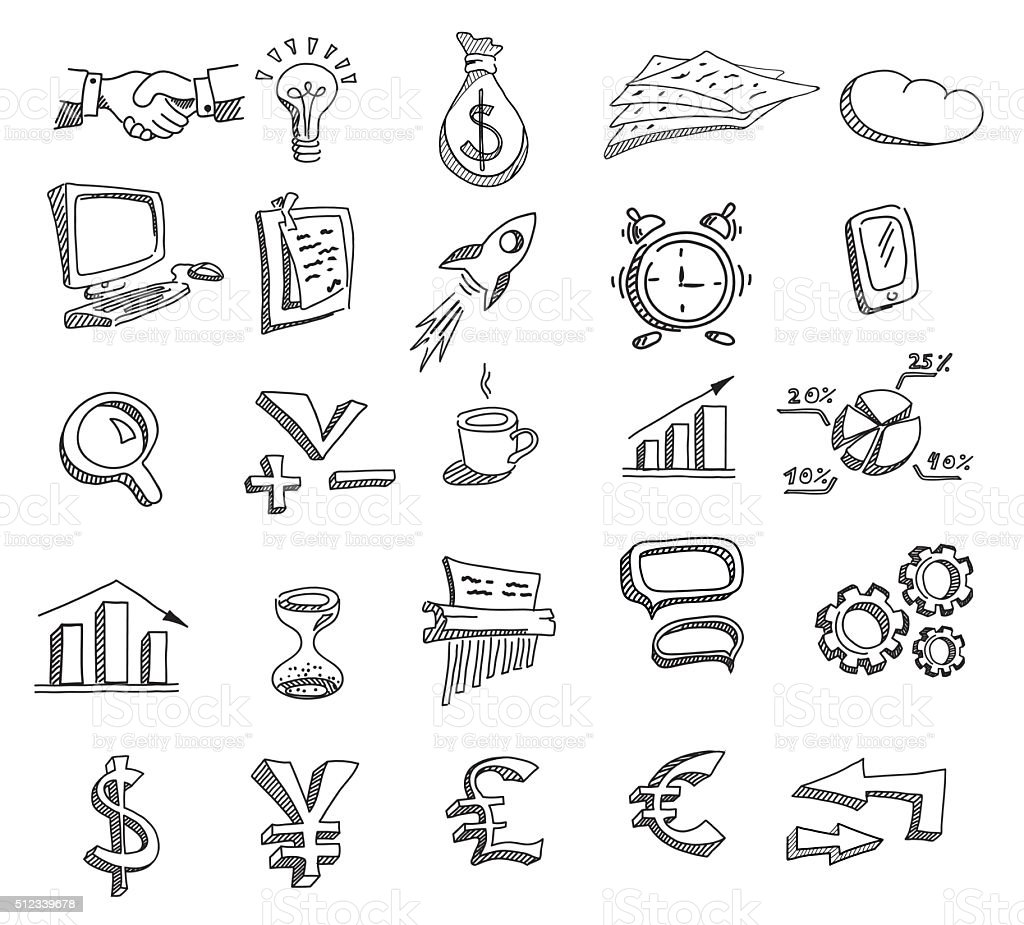 Set of hand drawn business icons. vector art illustration