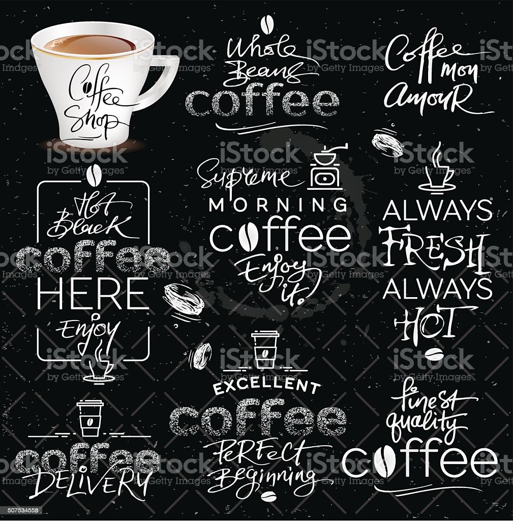 Set of Hand Drawn Calligraphic Vector Coffee Labels vector art illustration