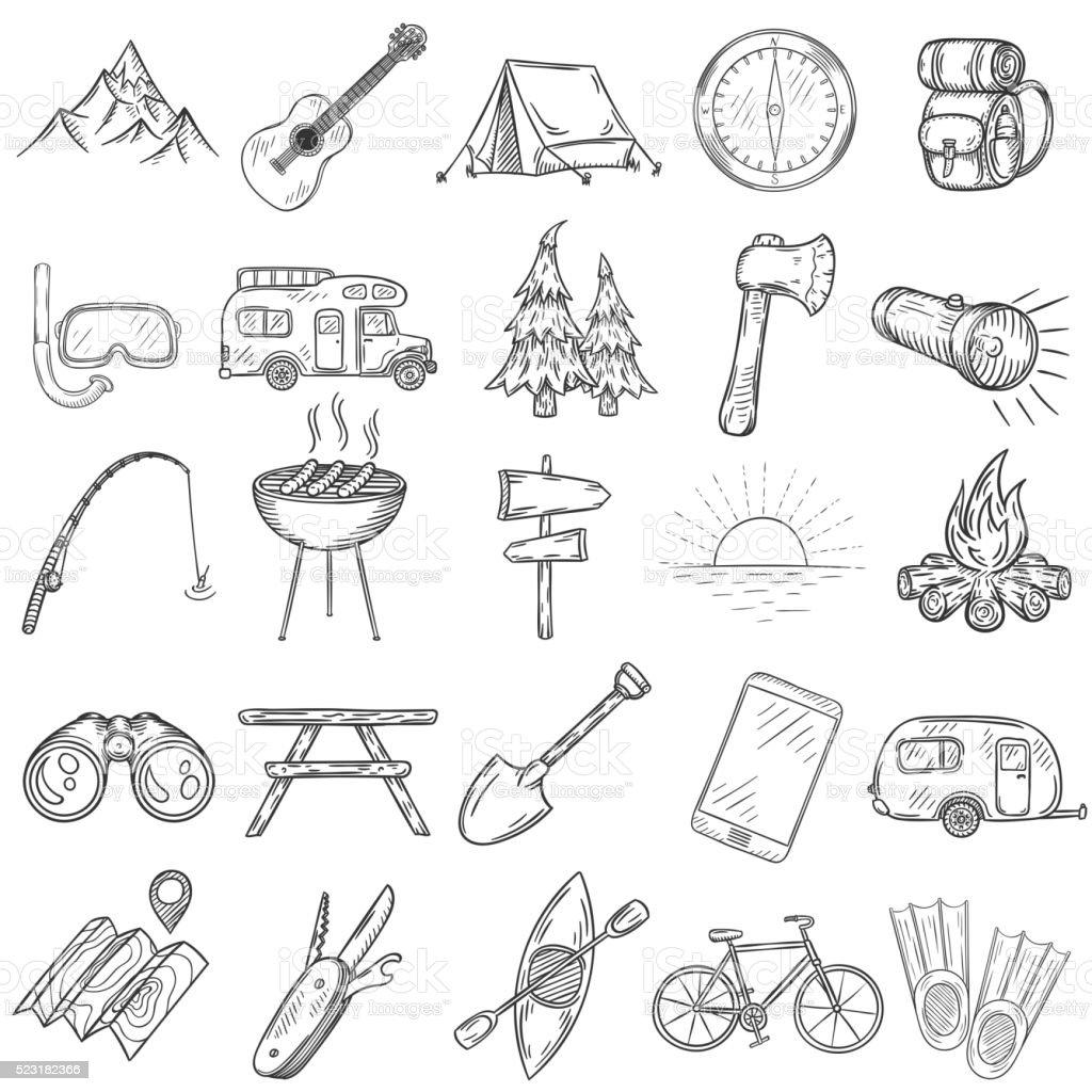 Set of hand drawn camping icons. vector art illustration