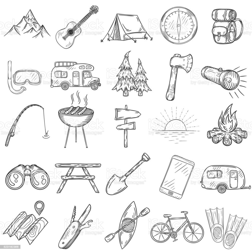 Set of hand drawn camping icons. vector art illustration