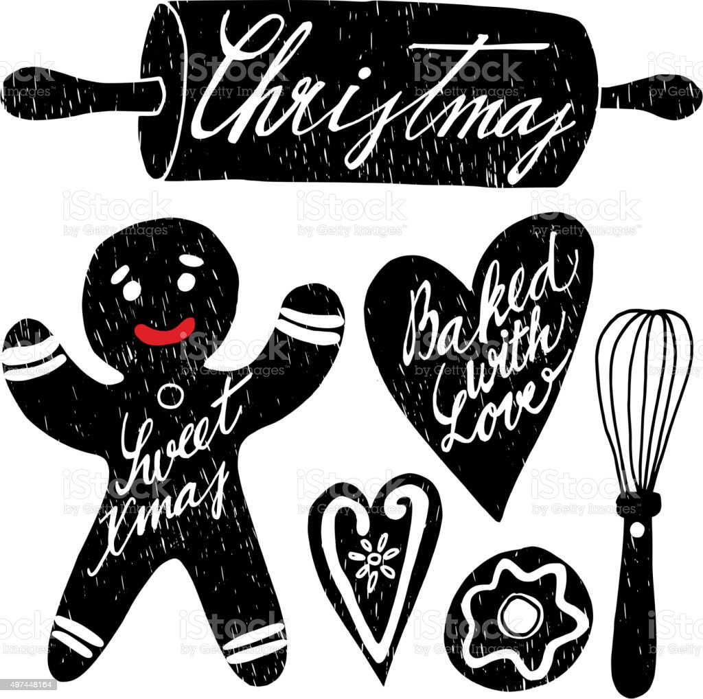 Set of hand drawn christmas baking elements with gingerbread, vector vector art illustration