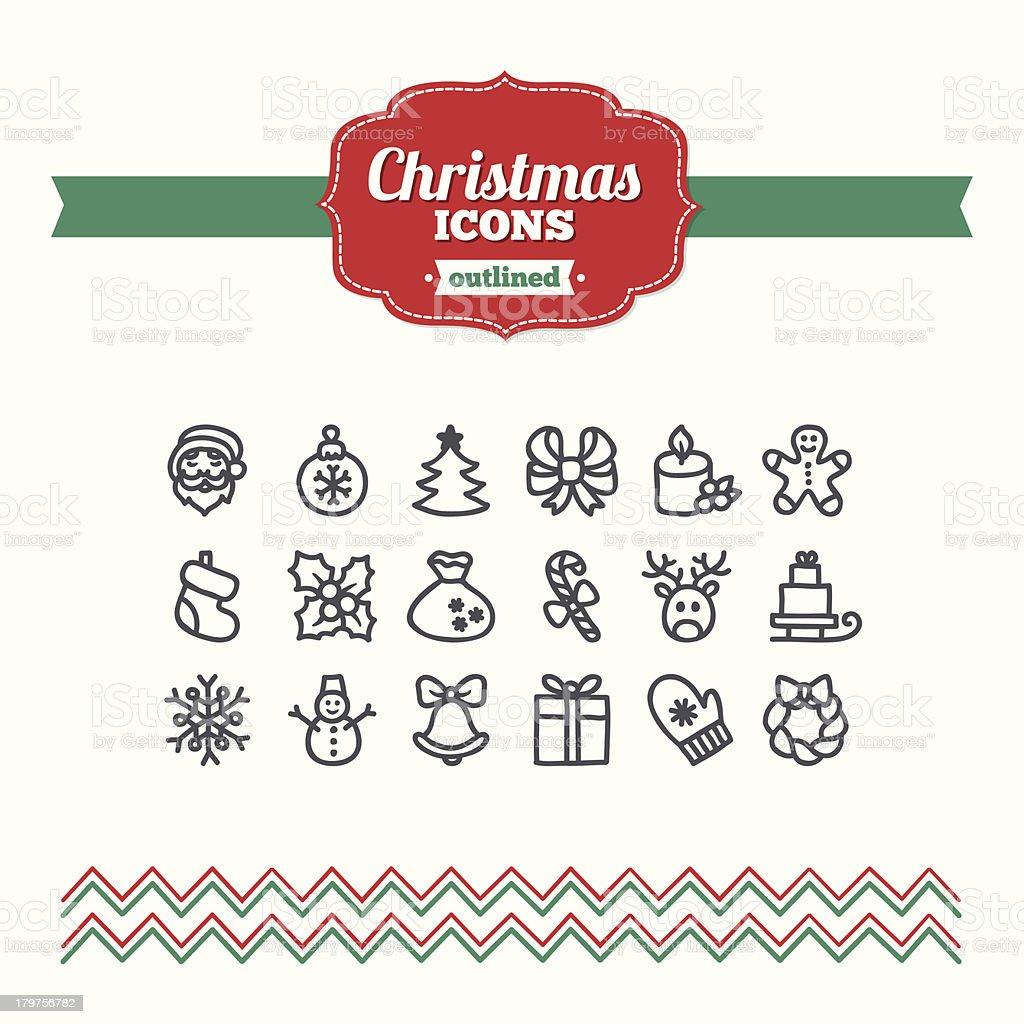 Set of hand drawn Christmas icons royalty-free stock vector art