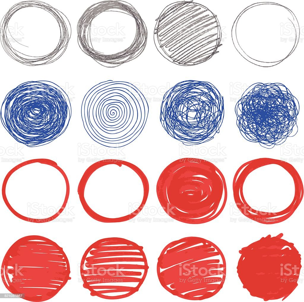 Set of hand drawn circles. vector art illustration