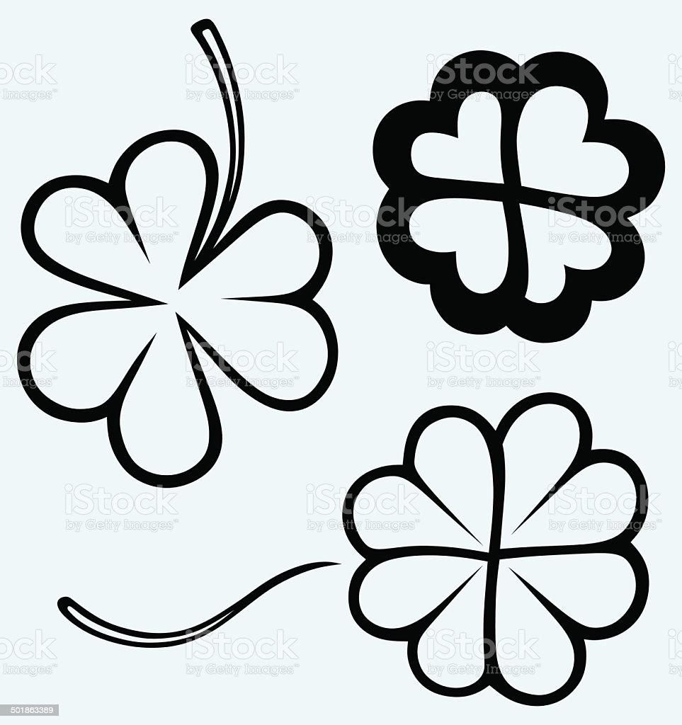 Set of hand drawn clovers vector art illustration