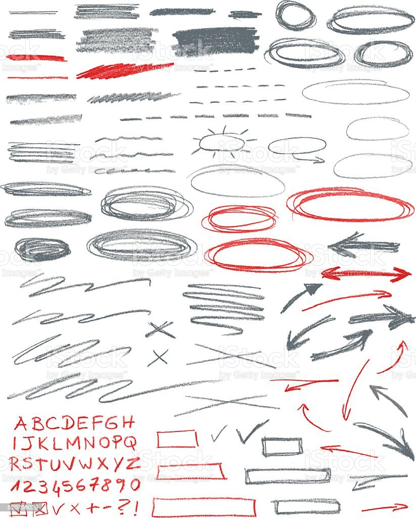 Set of hand drawn correction elements. Pencil technique. vector art illustration