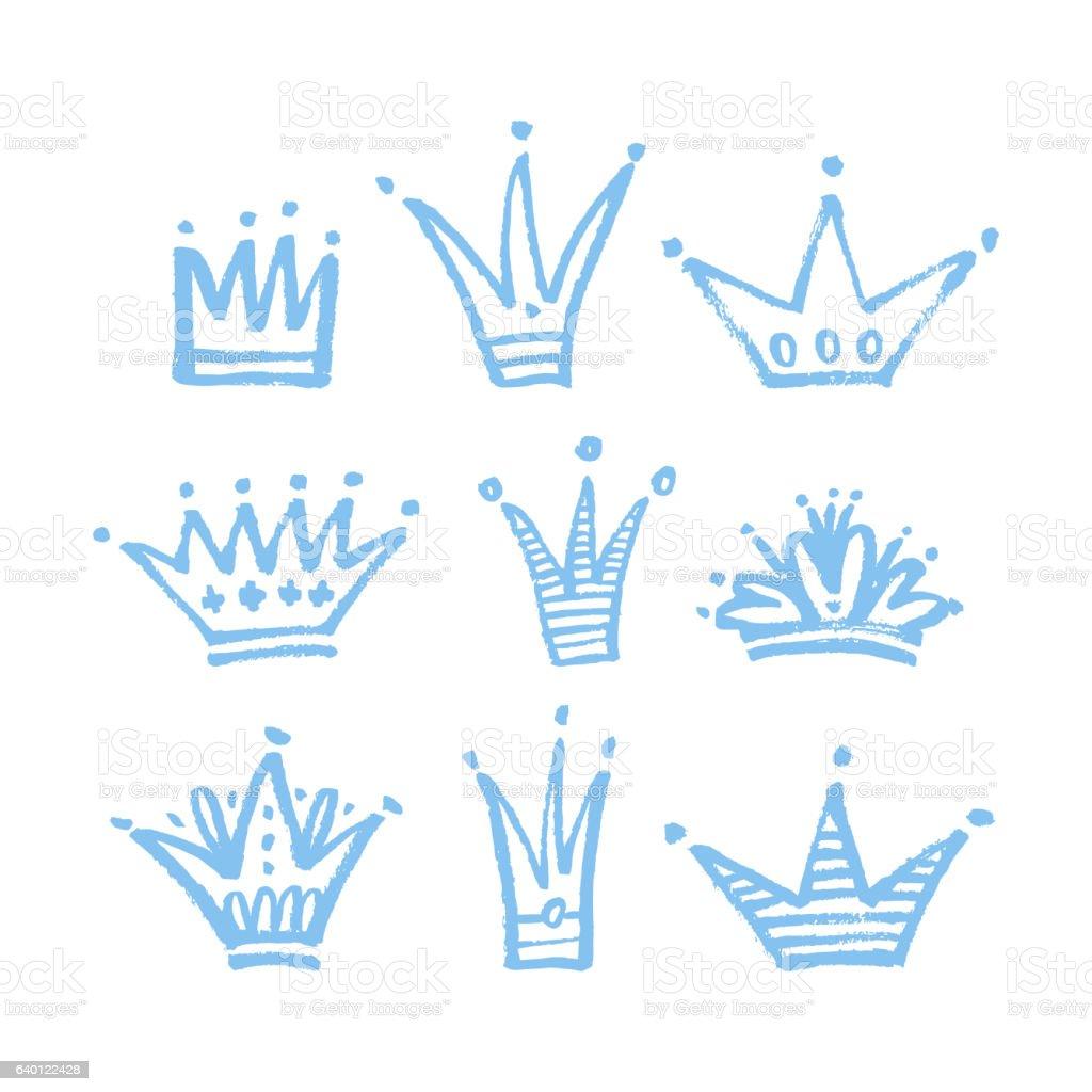Set of hand drawn crowns. vector art illustration