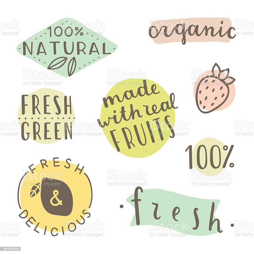 Set of hand drawn cute labels. vector art illustration