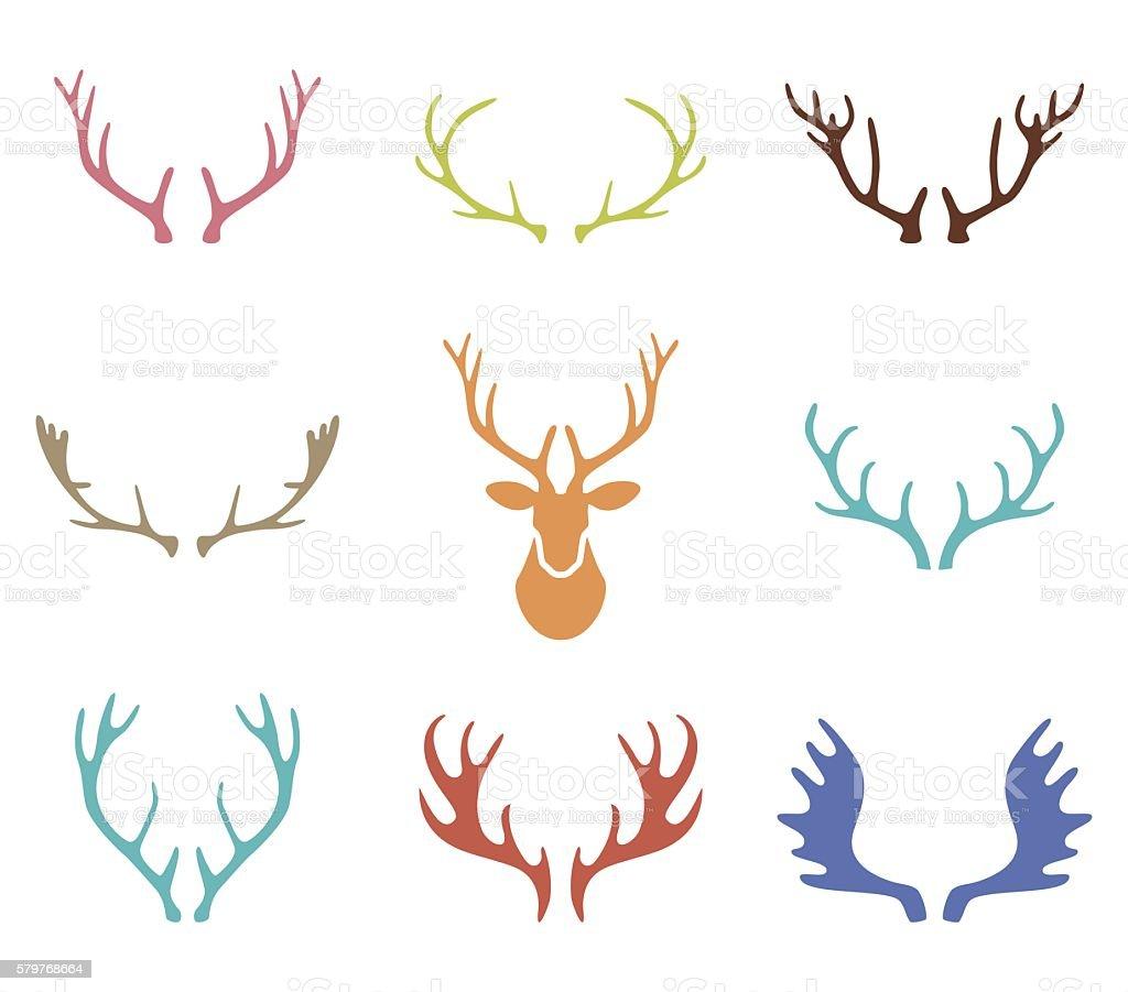 Set of hand drawn deer horns on the white background. vector art illustration