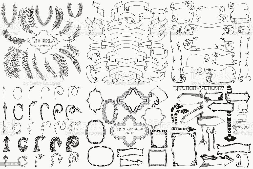 Set of hand drawn design elements. vector art illustration