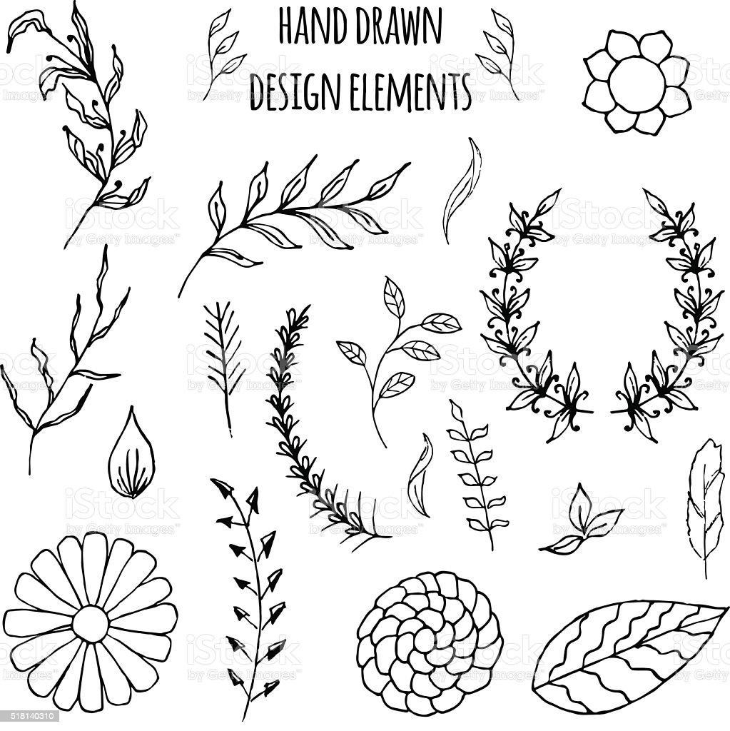 Set of hand drawn design elements. Vector illustration vector art illustration