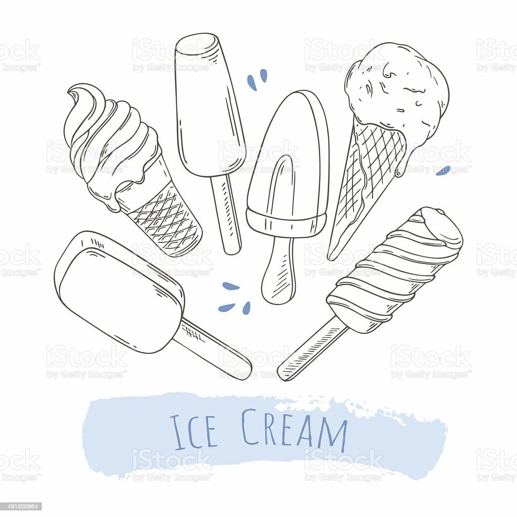 Set of hand drawn different ice cream. Doodle illustration vector art illustration
