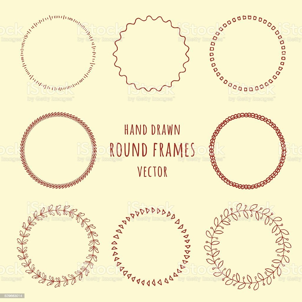 Set of hand drawn doodle frames. Vector illustration vector art illustration
