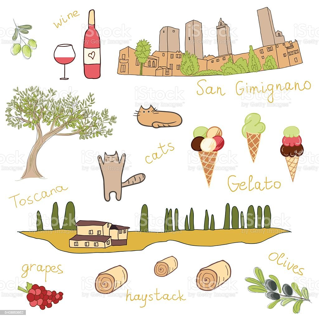 Set of hand drawn doodles of San Gimignano, Tuscany, Italy vector art illustration