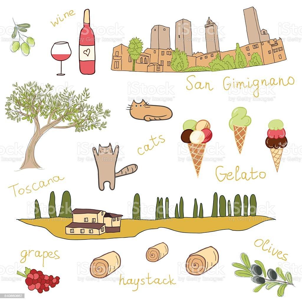 Set of hand drawn doodles of San Gimignano, Tuscany, Italy vector art illustration