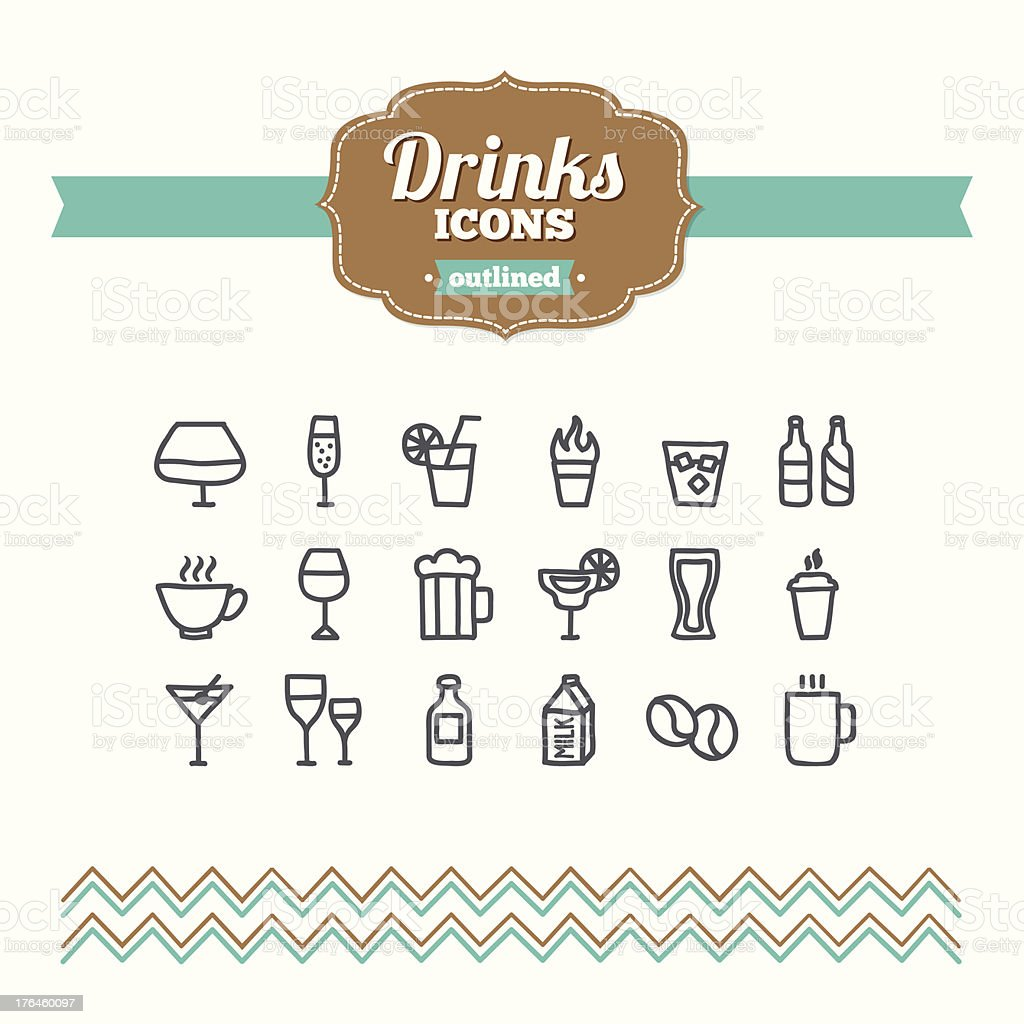 Set of hand drawn drinks icons royalty-free stock vector art