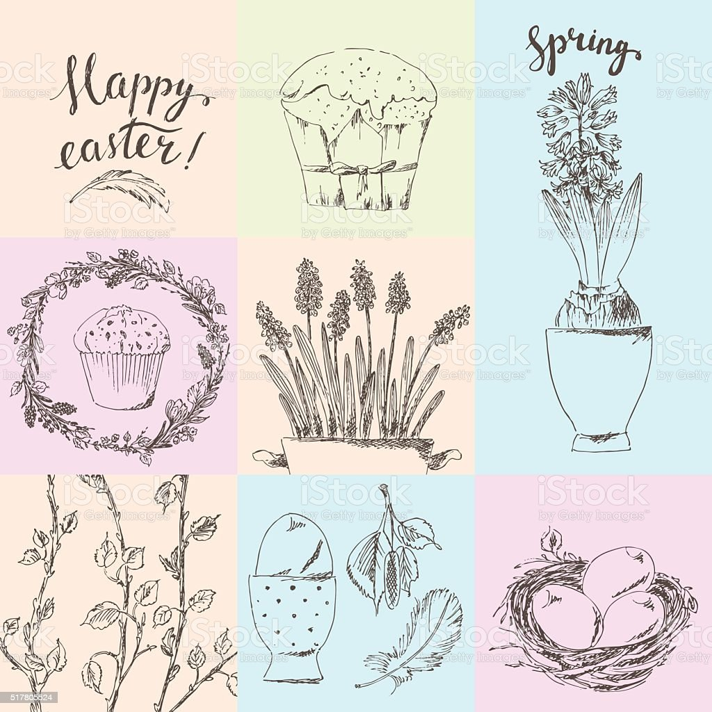 Set of hand drawn easter cards with flowers, cake, eggs vector art illustration