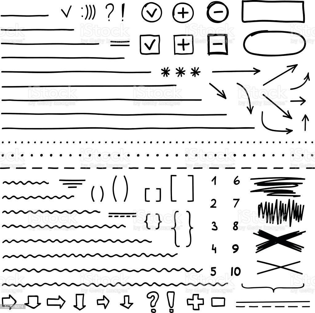 Set of hand drawn elements for edit and select text vector art illustration